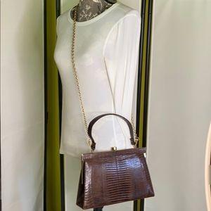 Vintage Brown Medium Structured Croc Embossed Bag